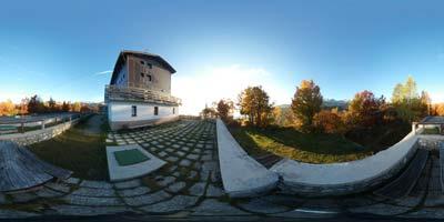 Panorama posneta pri Domu na Komni pred začetkom ture na Tolminski Kuk, Bogatin in Mahavšček preko Planine Govnjač.