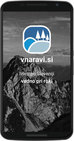 Začetna stran mobilne aplikacije.