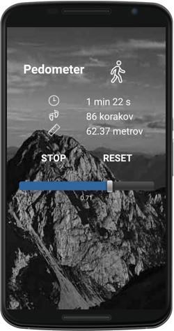 Pedometer razširi uporabo aplikacije na vsakodnevne opravke.