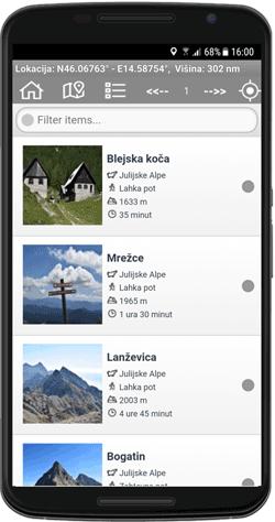 Meni mobilne aplikacije z izleti po Sloveniji.