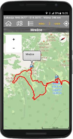 GPS sled po kateri nas vodi aplikacija.