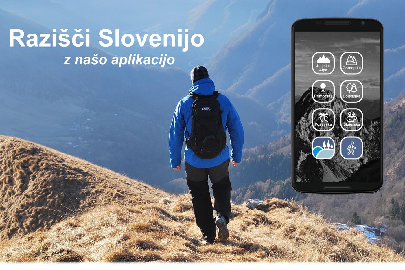 Fotografija posneta na Poreznu za mobilno pohodniško aplikacijo.