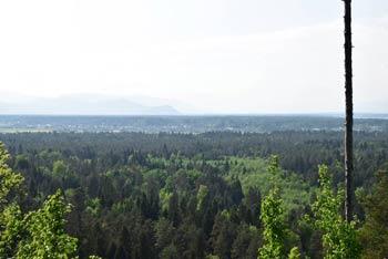 Savska ravan in pogled proti Kamniško-Savinjskim Alpam, ki se skrivajo v poletnih meglicah.