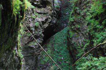 Do vhoda v Mrzlo jamo se spustimo skozi globoko in ozko razpoko. Na dnu jame se nahaja večni led.