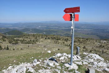 Iz Ostriča se odpre razgled vse do Julijskih in Kamniško-Savinjskih Alp in preko sosednjih Brkinov do notranjskega Snežnika.