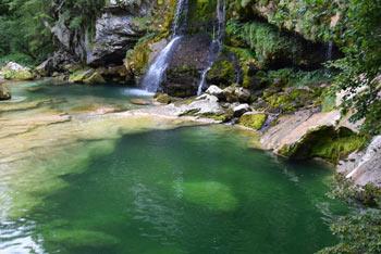 Slap Virje ima zelena tolmuna in značilno pahljačasto obliko. Nahaja se pri vasi Plužna.