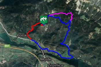 GPS sled prikazuje pešpot, ki jo z Ajdne lahko podaljšamo vse do Valvasorjevega doma pod Stolom.