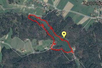 GPS sled prikazuje kratek sprehod za majhne otroke tudi do 2 let okoli Braslovškega jezera.