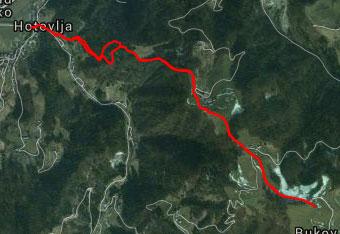 Pot na Bukov vrh je zavita zato uporabimo gps sled.