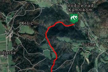 GPS sled prikazuje sprehod od vasi Oševek do Debevčevega mlina, ki se mu reče tudi Samotni mlin.