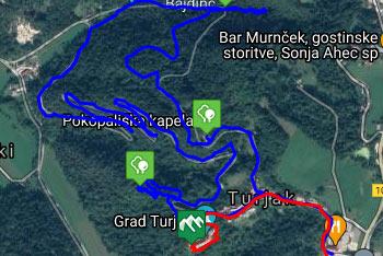 GPS sled prikazuje kulturno in naravno izvrstno in razgibano pešpot do gradu Turjak, ki jo lahko prehodijo tudi mlajši otroci.
