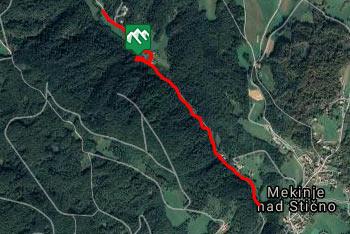 GPS sled prikazuje kratek sprehod do izvira Frančiška, ki nas vodi po dolini Stiškega potoka.