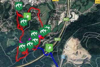 GPS sled prikazuje razgibano krožno pešpot, ki nas vodi do izvirom Ljubljanice.