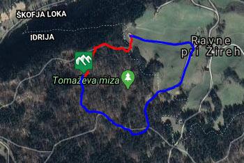 GPS sled prikazuje krožno pešpot do Kamnite mize.