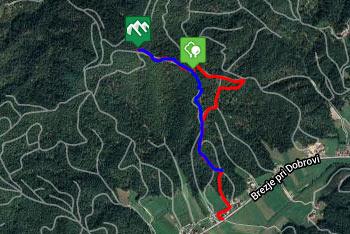 GPS sled prikazuje krožno pot, ki nas na Ključ vodi po položni poti, z njega pa po strmi.