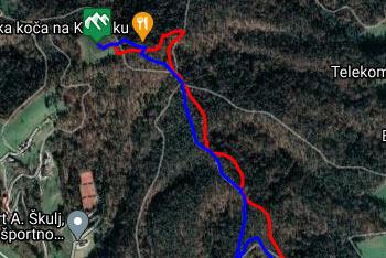 GPS sled prikazuje dve poti na priljubljeni Klobuk, ki se nahaja zahodno od Ljubljane.