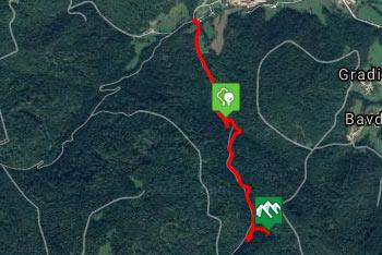 GPS sled prikazuje sprehod do slapa Kobilji curek na Dolenjskem.