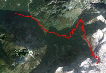 GPS sled nas vodi do Koče na Doliču visoko pod Kanjevcem.