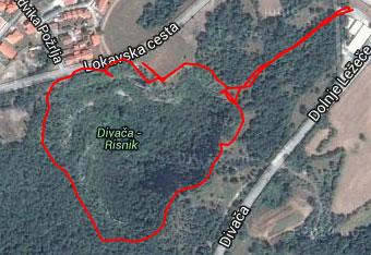 GPS sled nas vodi okoli koliševke Risnik, a navigacija ni nujno potrebna.