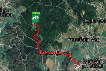 GPS sled prikazuje krajšo pot na Lavričevo pot na Gradišču iz Šentvida pri Stični.