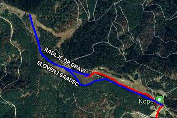 GPS sled prikazuje pešpot od Grmovškovega doma do Male Kope preko Velike Kope. Slednjo med povratkom obhodimo.