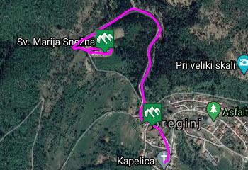 GPS sled prikazuje pešpot, ki nas vodi do pokopališke cerkvice Marije Snežne nad Breginjem.