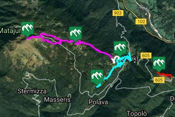 GPS sled nas pripelje na Matajur.