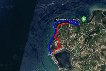 GPS sled prikazuje krožno pešpot mimo Strunjanskega križa do Mesečevega zaliva in nato po obalu ob morju nazaj v Strunjan.