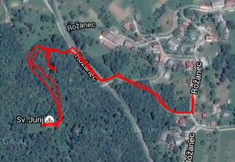 Ko gremo do mitreja pri Rožancu uporabimo aplikacijo za cestno navigacijo.