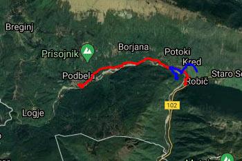 GPS sled prikazuje pešpot ob reki Nadiži od Robiča do istoimenskega kampa.