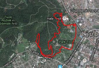 Ker na na sprehodu po parku Tivoli veliko razpotij uporabimo gps sled.