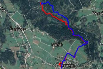 GPS sled prikazuje krajšo krožno pot tematske Poti miru, ki nas vodi po soteski potoka Peračica.