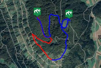 GPS sled prikazuje krožno pešpot, ki nas vodi po vinski gorici Lisec in na njen najvišji vrh, ki se imenuje Piramida.