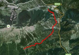 GPS sled do planine Preval pod Begunjščico.