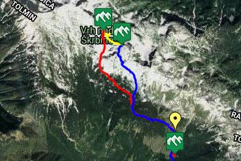 GPS sled prikazuje krožno pešpot, ki nas vodi na Vrh nad Škrbino.