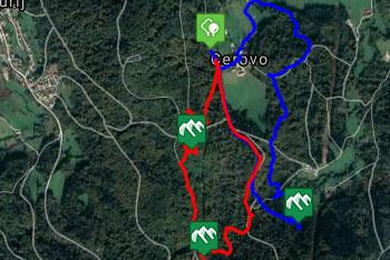 GPS sled prikazuje krožno pešpot do protiturškega tabora nad Cerovim.