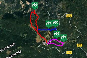 Razgledni stolp na Rogli se nahaja na razpotju več pešpoti, ki jih lahko združimo tudi v eno daljšo, kot prikazuje GPS sled.