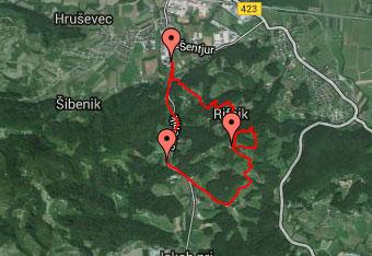 GPS sled nas vodi na arheološko najdišče Rifnik nad istoimenskim srednjeveškim gradom.