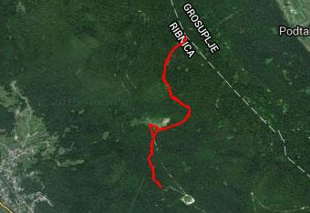 GPS sled nam kaže kako gre pot po pobočjih Male gore.