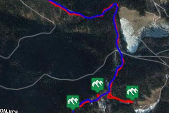 GPS sled prikazuje pešpot, ki nas vodi iz Vitanj na Stenico.