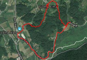 GPS sled prikazuje krožno pot na cerkev svete Eme v Sotelskem gričevju.