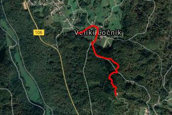 GPS sled prikazuje kratek izlet iz vasi Veliki Ločnik pri Turjaku na Goro, kjer se nahaja Sveti Ahac.