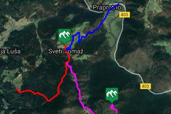 GPS sled prikazuje dve poti na znamenito cerkvico svetega Tomaža nad Praprotnim.