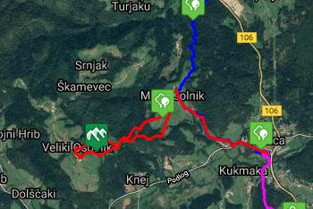GPS sled prikazuje deloma krožno pešpot na Veliki Osolnik.