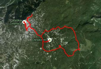 GPS sled nas vodi na Veliki vrh na Dleskovškovi planoti.