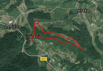 GPS sled nas vodi krožno preko Vine gore iz Pilštanja.