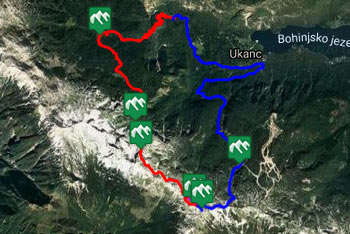 GPS sled nas preko Komne in Konjskega sedla pripelje na Vogel. Krožen povratek poteka preko Žagarjevega grabna.