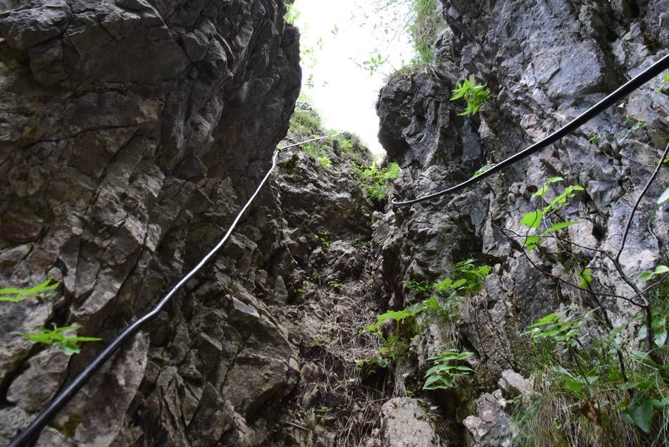 Strm z jeklenicami varovan vzpon proti Jelenku visoko nad dolino Idrijce. Na drugi strani je Bevkov vrh.