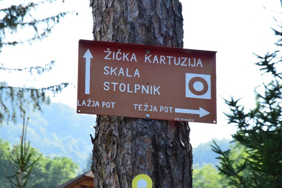 Na razpotu za Žičko kartuzijo in Stolpnik na pobočjih Konjiške gore.