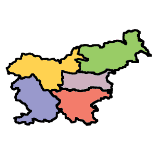 Pregledni zemljevid Slovenije z vrisanimi regijami Gorenjsko, Primorsko, Dolenjsko, Posavsko in Štajersko za lažje odločanje kam na izlet.